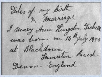 Handwritten declaration by Mary Ann Hingston Tickell
